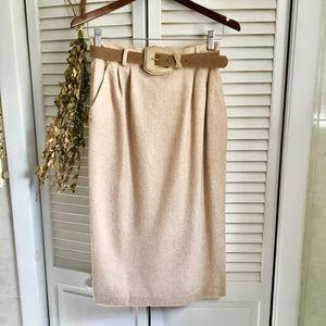 {Vintage} Cream Wool Pencil Skirt w/ Matching Belt